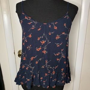 Volcom Navy Floral Ruffle Tank Blouse
